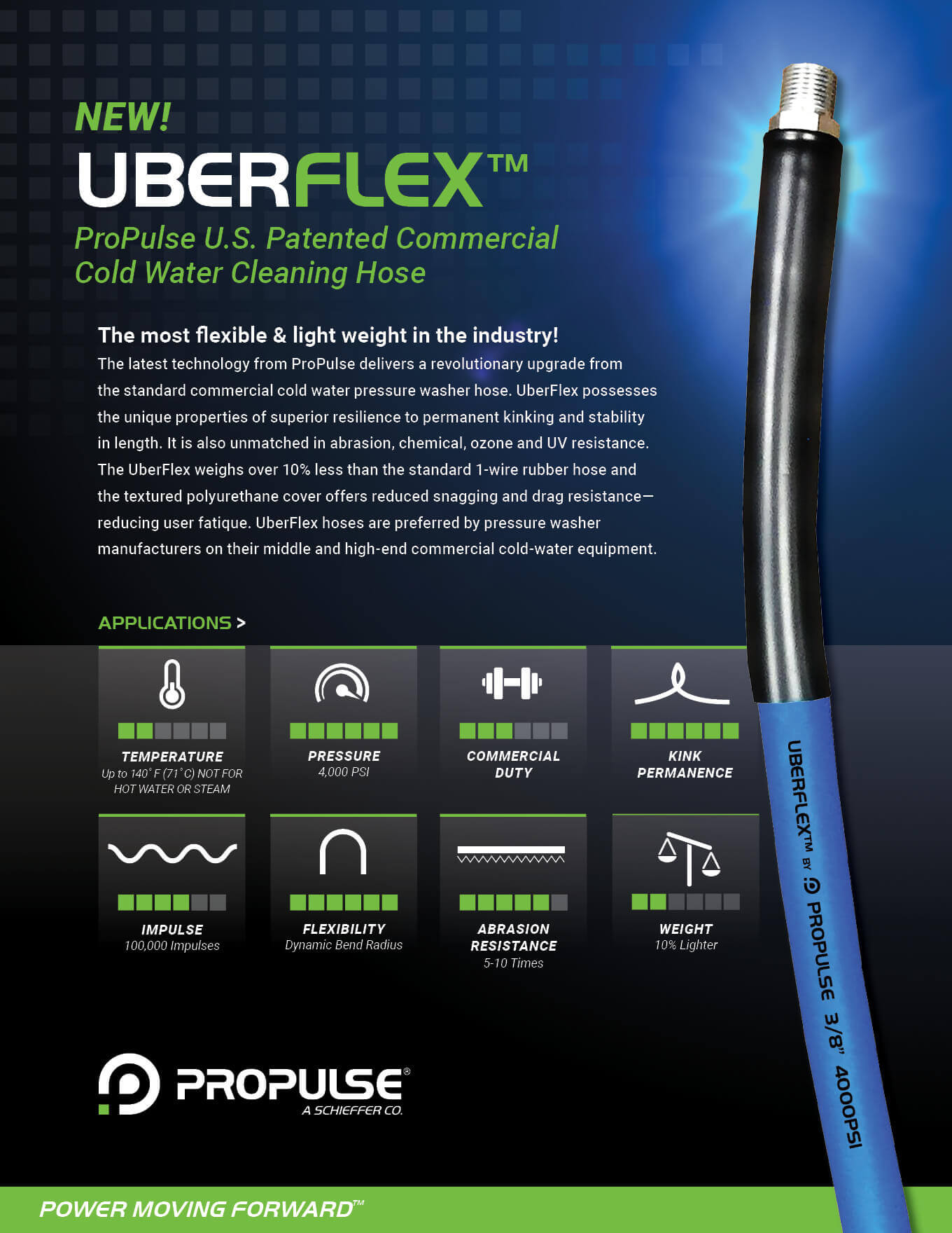 Uber Flex Commercial Cold Water Cleaning Hose