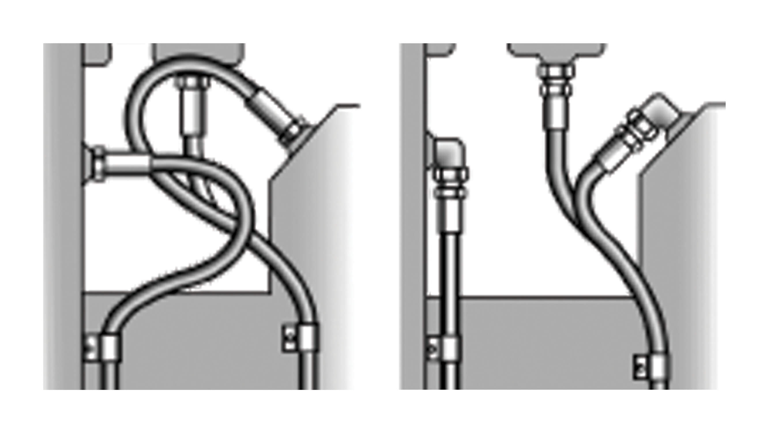 Graphic of hydraulic hose installation multiple methods