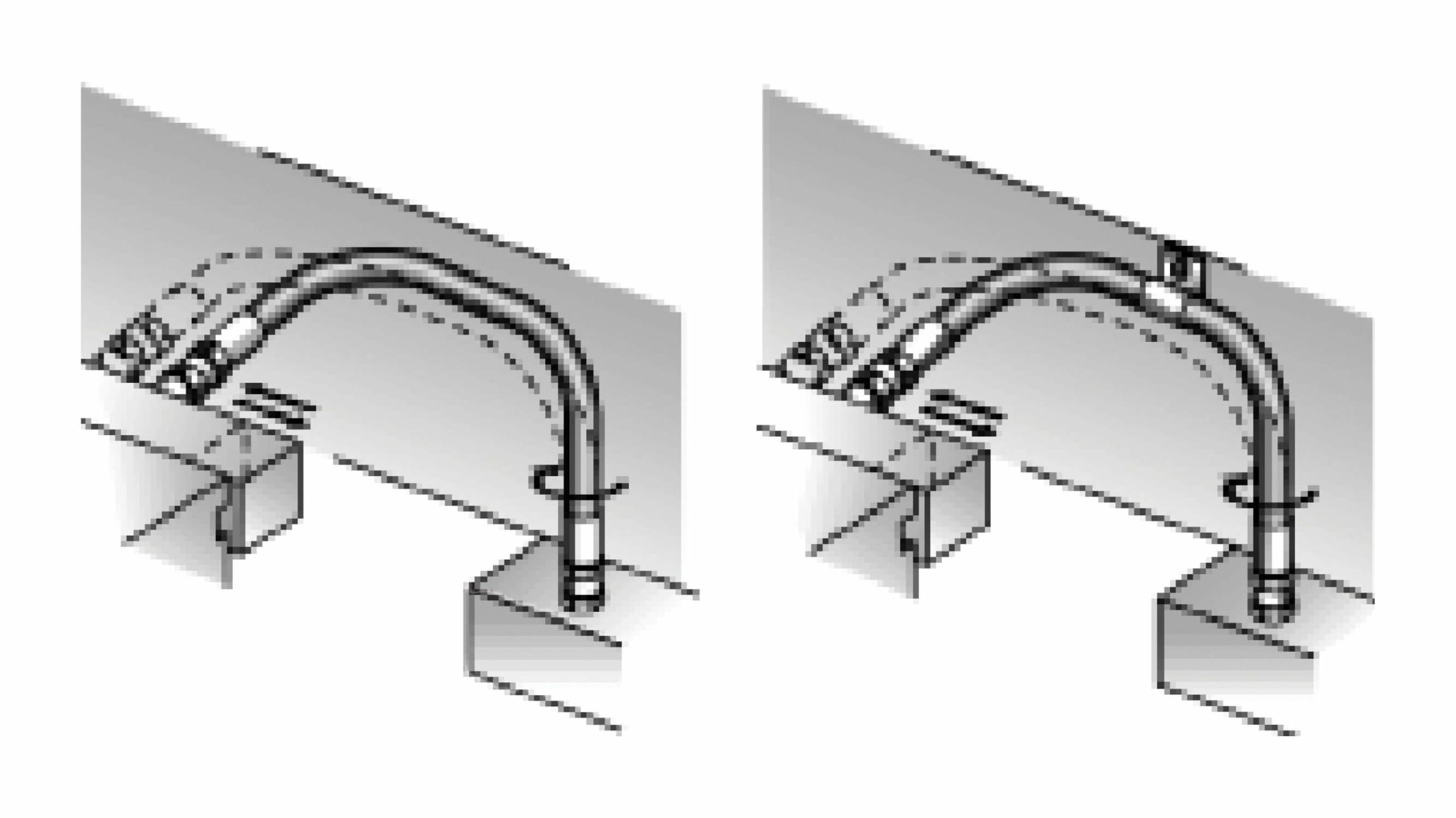 Two ways that a hose connects to equipment